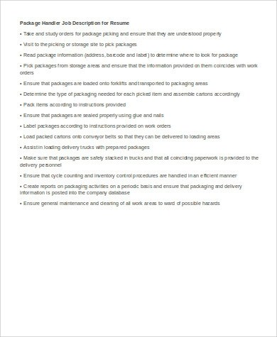 6+ Package Handler Job Description Samples Sample Templates