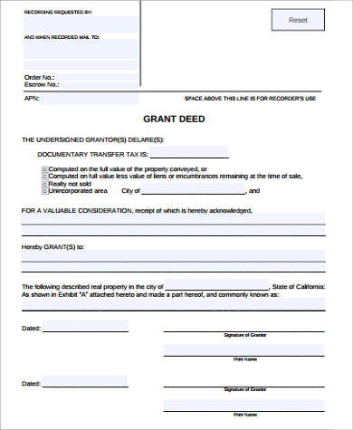 Sample Grant Deed Form - 7+ Examples in Word, PDF