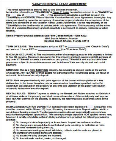 Sample Free Printable Rental Agreement - 8+ Examples in Word, PDF
