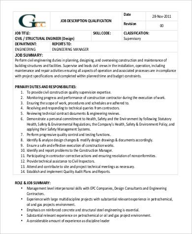 9+ Structural Engineer Job Description Samples Sample Templates - structural engineer job description