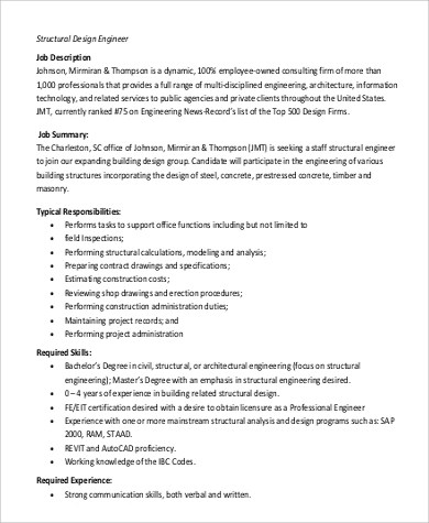 Structural Engineer Job Description Sample - 9+ Examples in Word, PDF - building engineer job description