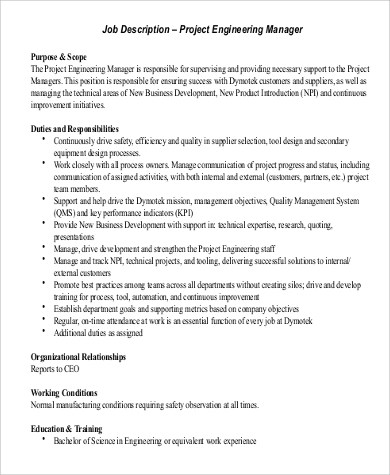 8+ Engineer Manager Job Description Samples Sample Templates