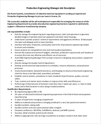 Engineer Manager Job Description Sample - 8+ Examples in PDF - manufacturing engineer job description