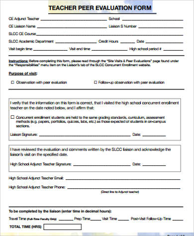 Sample Peer Evaluation Form - 9+ Examples in Word, PDF - teaching evaluation form