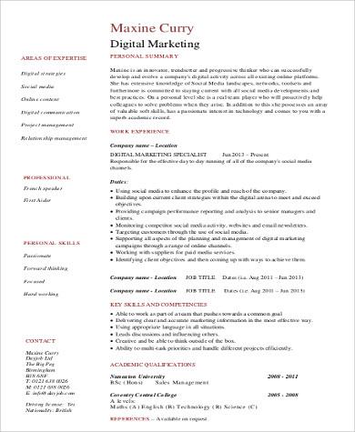 8+ Sample Marketing Skills Resumes Sample Templates - skill for a resume