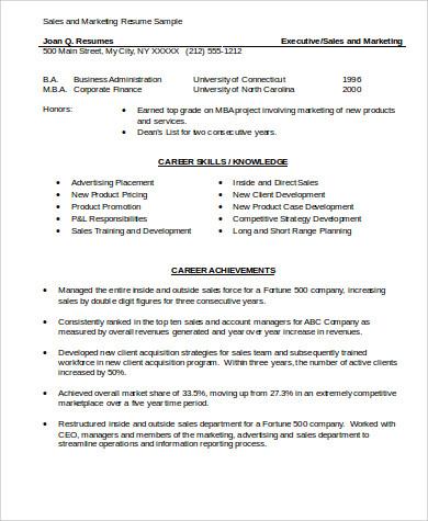 Sample Marketing Skills Resume - 8+ Examples in Word, PDF