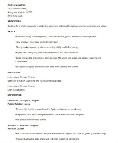 Sample Marketing Skills Resume - 8+ Examples in Word, PDF - marketing student resume