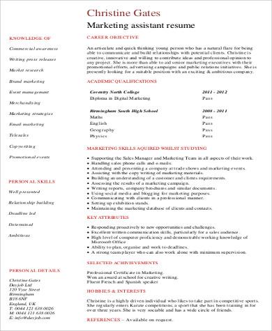 Sample Marketing Skills Resume - 8+ Examples in Word, PDF - marketing assistant resume