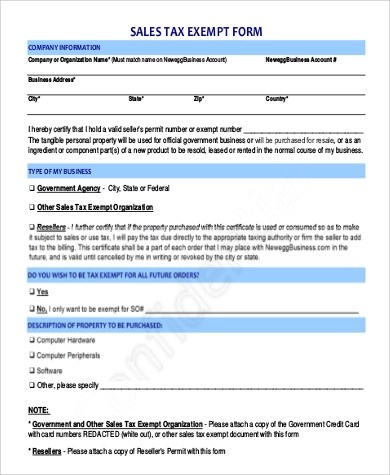 9+ Sample Printable Tax Forms Sample Templates - tax exemption form
