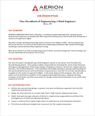 8+ Aerospace Engineer Job Description Samples Sample Templates