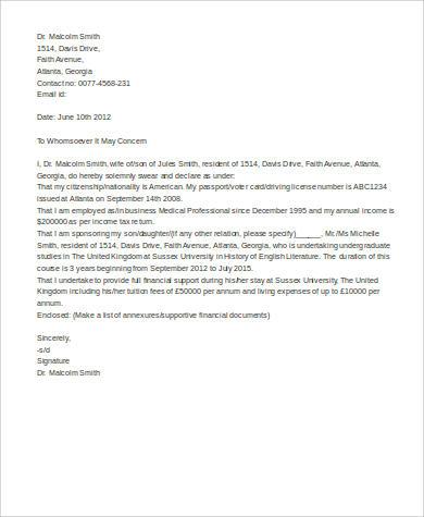 8+ Sample Affidavit of Support Letters \u2013 PDF Sample Templates - affidavit sample