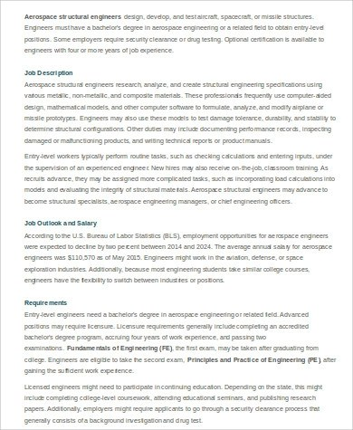 8+ Aerospace Engineer Job Description Samples Sample Templates - structural engineer job description