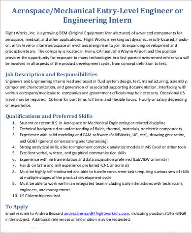8+ Aerospace Engineer Job Description Samples Sample Templates