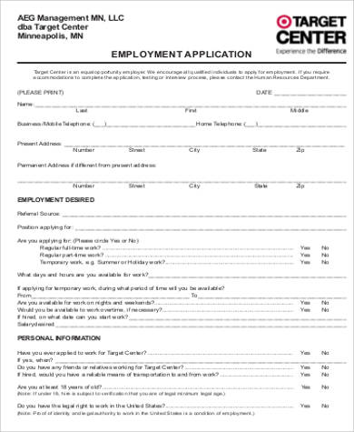 5+ Sample Target Job Application Forms Sample Templates