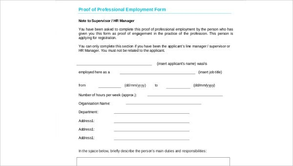 5+ Proof of Employment Samples Sample Templates - proof of employment form