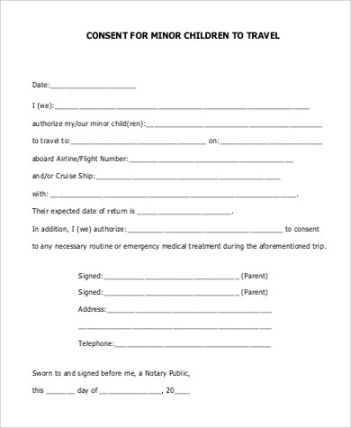 5+ Sample Child Travel Consent Forms \u2013 PDF Sample Templates - one parent travel consent form