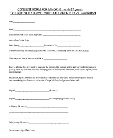 5+ Sample Child Travel Consent Forms \u2013 PDF Sample Templates - sample child medical consent form