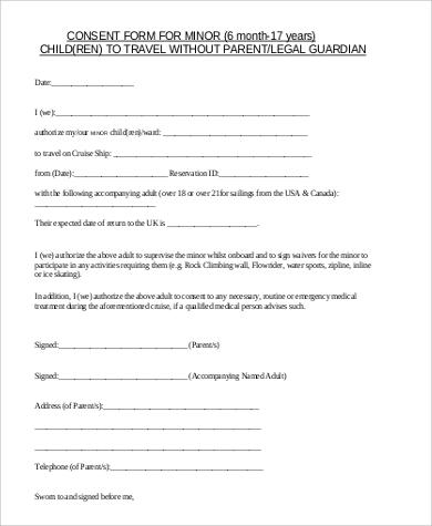 5+ Sample Child Travel Consent Forms \u2013 PDF Sample Templates - sample child medical consent form
