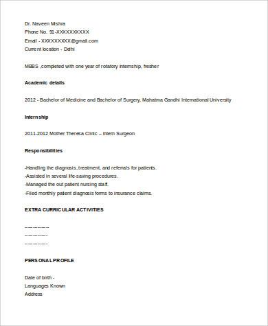 Medical Resume Format Sample - 8+ Examples in Word, PDF