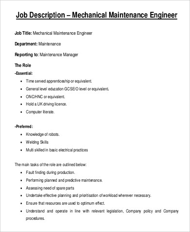 9+ Maintenance Engineer Job Description Samples Sample Templates