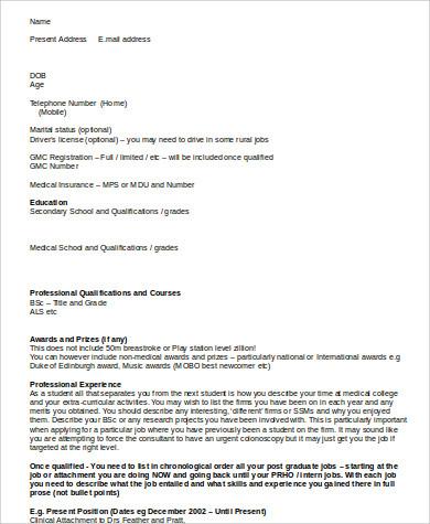8+ Medical Resume Format Samples Sample Templates - medical student resume