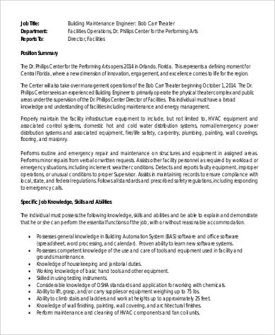 9+ Maintenance Engineer Job Description Samples Sample Templates