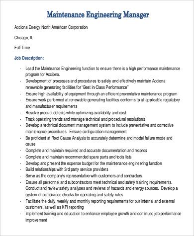 maintenance manager job description - Onwebioinnovate