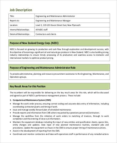 Maintenance Engineer Job Description Sample - 9+ Examples in Word, PDF - building engineer job description