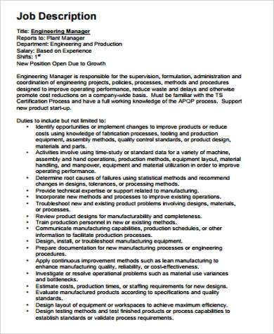 Engineer Job Description Sample - 12+ Examples in Word, PDF - manufacturing engineer job description