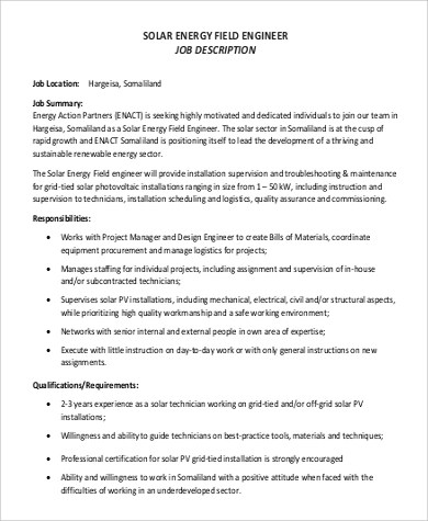 9+ Field Engineer Job Description Samples Sample Templates - structural engineer job description