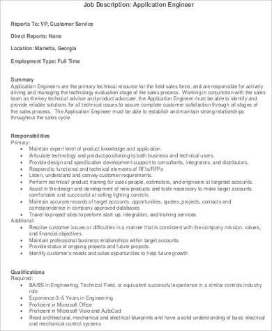 7+ Application Engineer Job Description Samples Sample Templates - application engineer job description