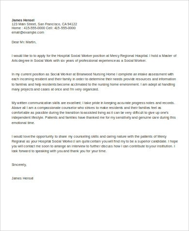 Sample Social Work Cover Letter - 9+ Examples in Word, PDF
