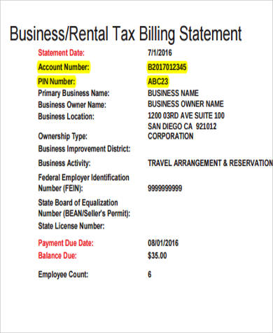 Billing Statement Sample - 8+ Examples in Word, PDF - billing statement template