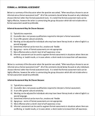 Informal Assessment Examples Informal Assessment Of