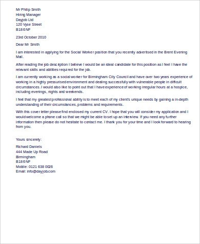 9+ Sample Social Work Cover Letters Sample Templates - job cover letters