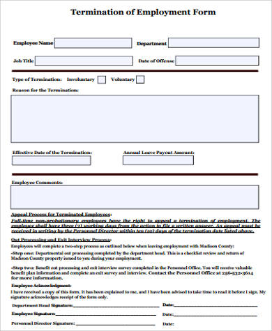 Termination of Employment Sample - 7+ Examples in Word, PDF - employee termination form