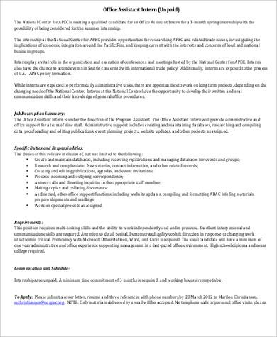 Office Intern Job Description Intern Project Description Project - Office Intern Job Description