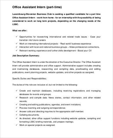 8+ Office Intern Job Description Samples Sample Templates - Office Intern Job Description