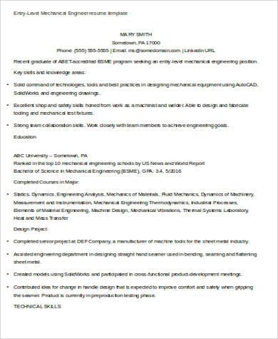 Sample Mechanical Engineering Resume - 7+ Examples in Word, PDF