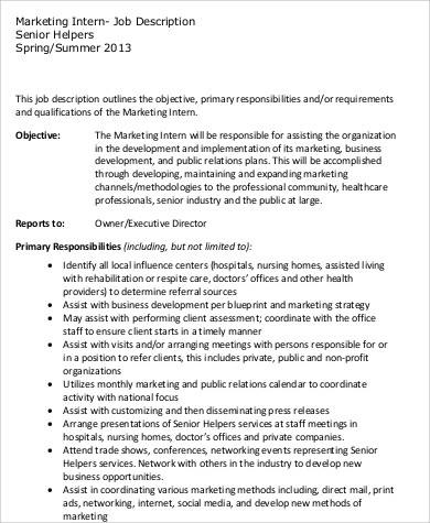 Office Intern Job Description Sample - 8+ Examples in Word, PDF - office intern job description