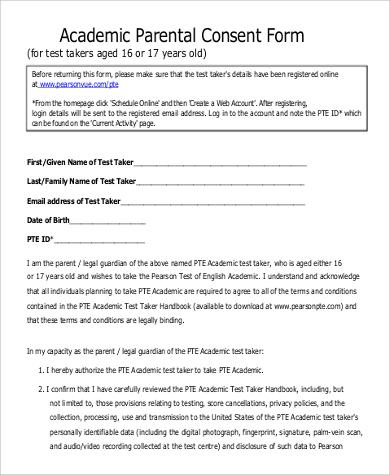 9+ Sample Parental Consent Forms Sample Templates