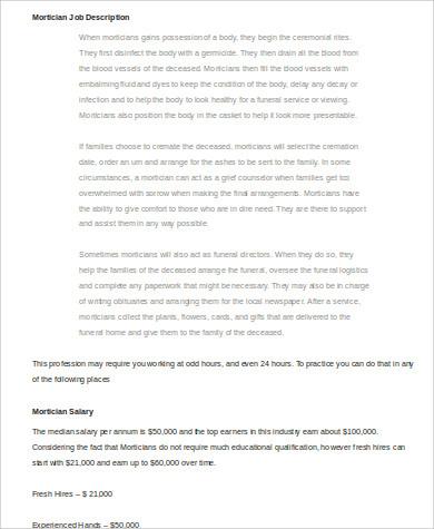 Mortician Job Description Sample - 5+ Examples in Word, PDF - mortician job description