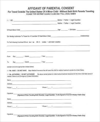 Affidavit Of Parental Consent Form Template Image collections - parental consent to travel form