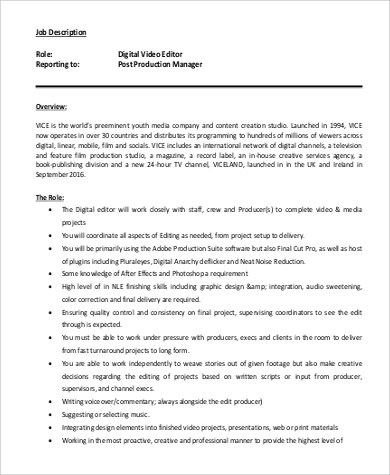 Digital Editor Job Description Sample - 8+ Examples in Word, PDF
