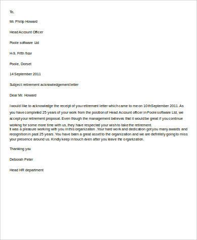 10+ Retirement Letter Samples Sample Templates