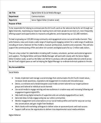 Digital Editor Job Description Sample 8 Examples In Word Pdf Social Media    Media Manager Job