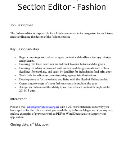 Fashion Editor Job Description  Resume Template Sample