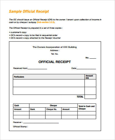 sample official receipt format - Maggilocustdesign - official receipt sample format