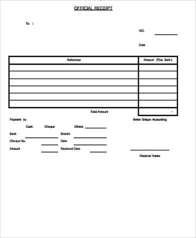 15+ Official Receipt Samples Sample Templates - official receipt template