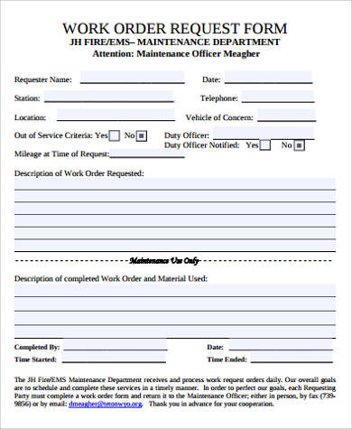 8+ Sample Work Order Forms Sample Templates - maintenance work order form